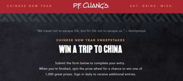 PF Changs Sweepstakes