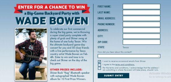 Shiner Wade Bowen Big Game Sweepstakes