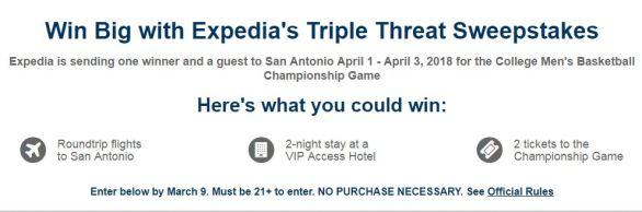 Expedia Triple Threat Sweepstakes
