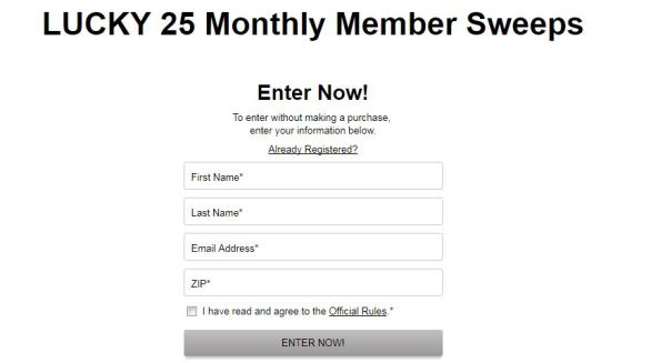 TJX Lucky 25 Monthly Member Sweepstakes