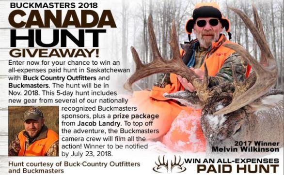 Buckmasters Canada Hunt Giveaway Sweepstakes
