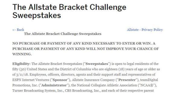 ESPN Allstate Bracket Challenge Sweepstakes