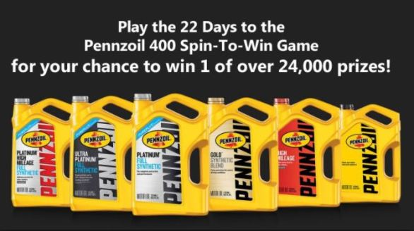Pennzoil 400 Spin-To-Win Game Sweepstakes