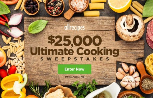 AllRecipes $25,000 Ultimate Cooking Sweepstakes