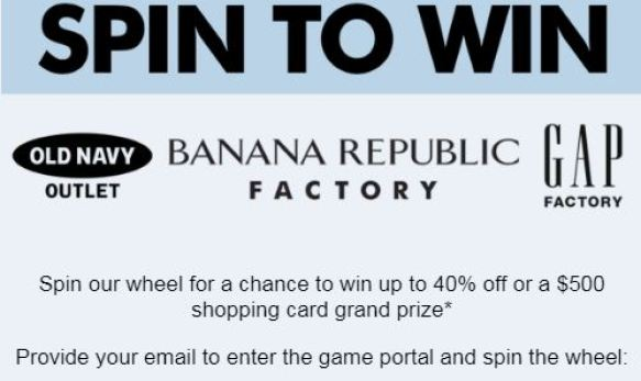 Old Navy Spin to Win Sweepstakes