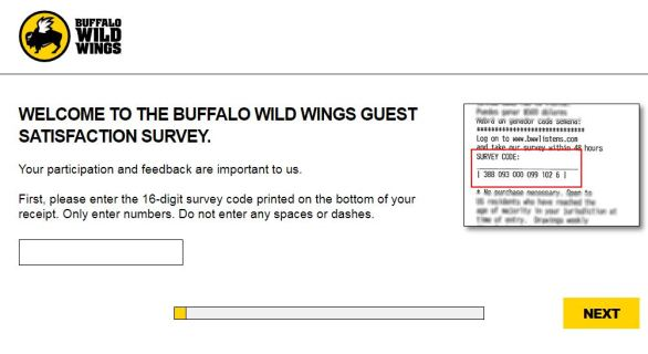 Buffalo Wild Wings Guest Satisfaction Survey
