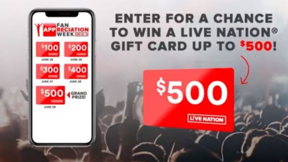 Live Nation Fan APP-Reciation Sweepstakes