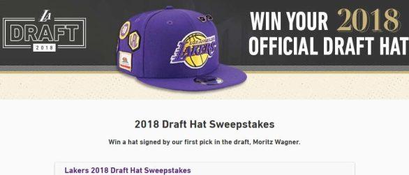 NBA LA Lakers Draft Hat Sweepstakes