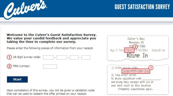 Tell Culvers Guest Satisfaction Survey
