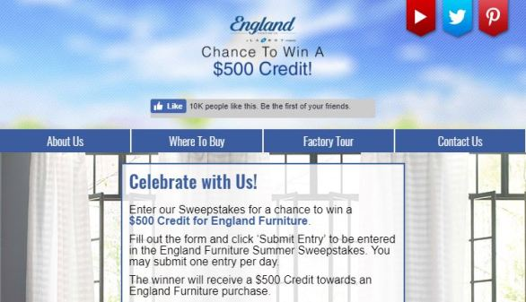 England Furniture Summer Sweepstakes
