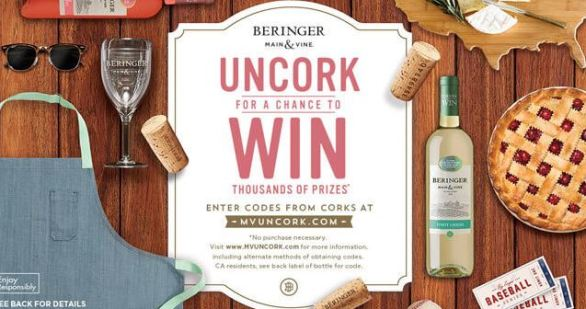 Beringer Main and Vine Wine & Win Instant Win Game