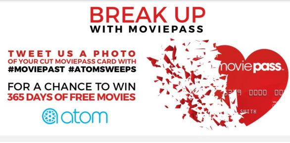 Atom Tickets MoviePass Breakup Sweepstakes