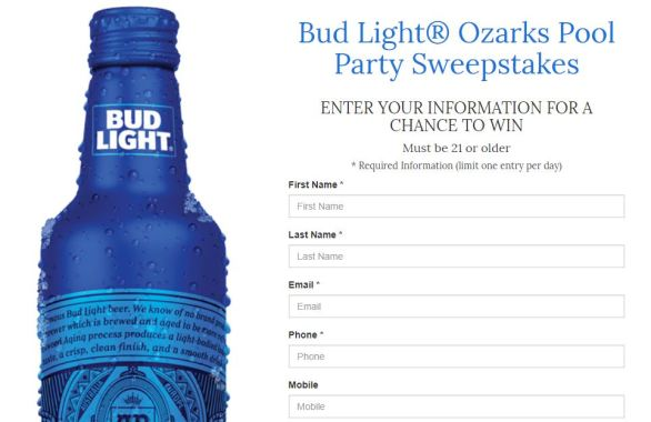Bud Light Ozarks Pool Party Sweepstakes