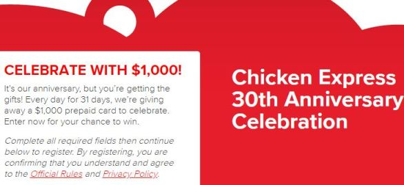 Chicken Express 30th Anniversary Celebration Instant Win Game