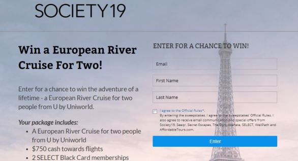 Society19 European River Cruise Sweepstakes