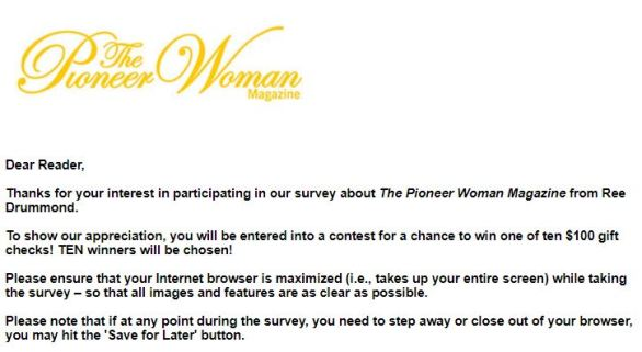 The Pioneer Woman Magazine Survey Sweepstakes