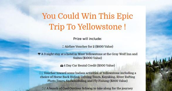 Win A Epic Trip to Yellowstone Sweepstakes