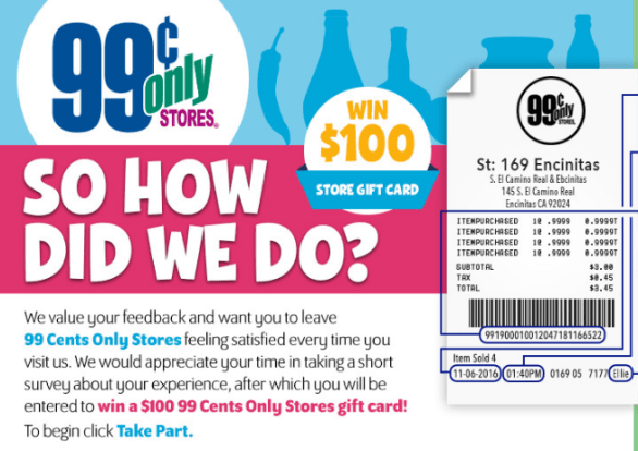 Tell 99 Cents Only Stores Customer Satisfaction Survey Sweepstakes