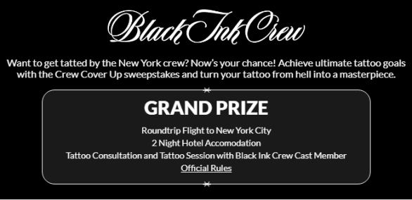 VH1 Crew Cover Up Sweepstakes