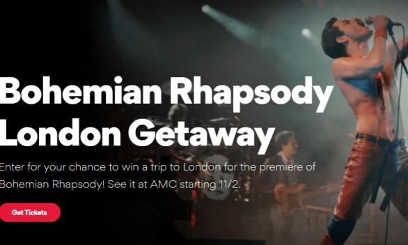 AMC Theatres Bohemian Rhapsody London Getaway Sweepstakes