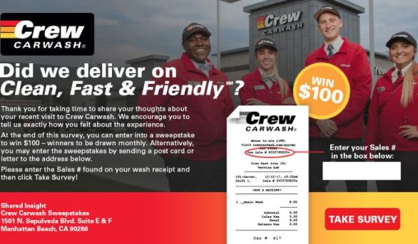 Crew Carwash Survey Sweepstakes