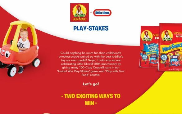 Sunmaid-Little-Tikes-Cozy-Coupe-Sweepstakes