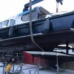 Stalen boot, 10 meter, stralen en coaten