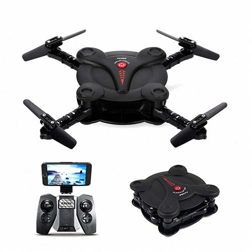 offertehitech-FQ777 FQ17W WIFI FPV Foldable Pocket Drone With 0.3MP Camera Altitude Hold Mode RC Quadcopter RTF - Black
