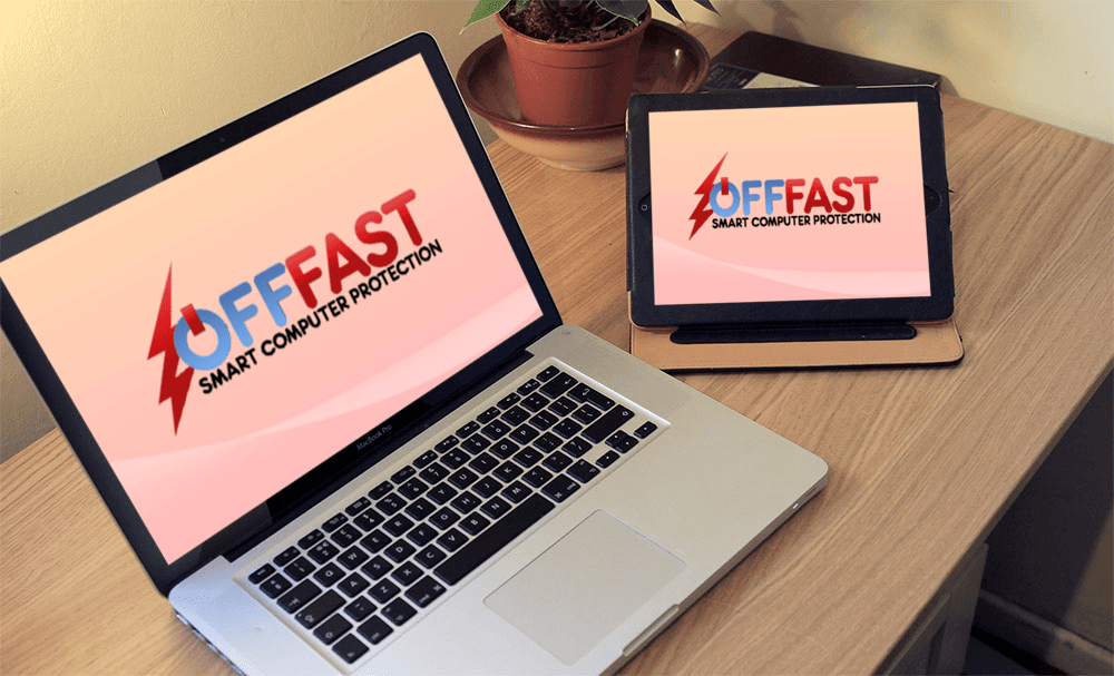Off Fast logo on portable computers