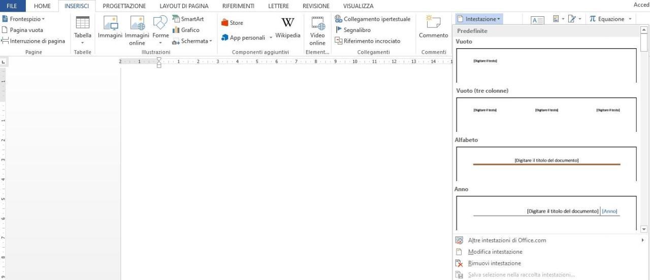 Office online - intestazione automatica