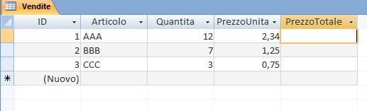 Office online - vendite calcolo prezzo totale