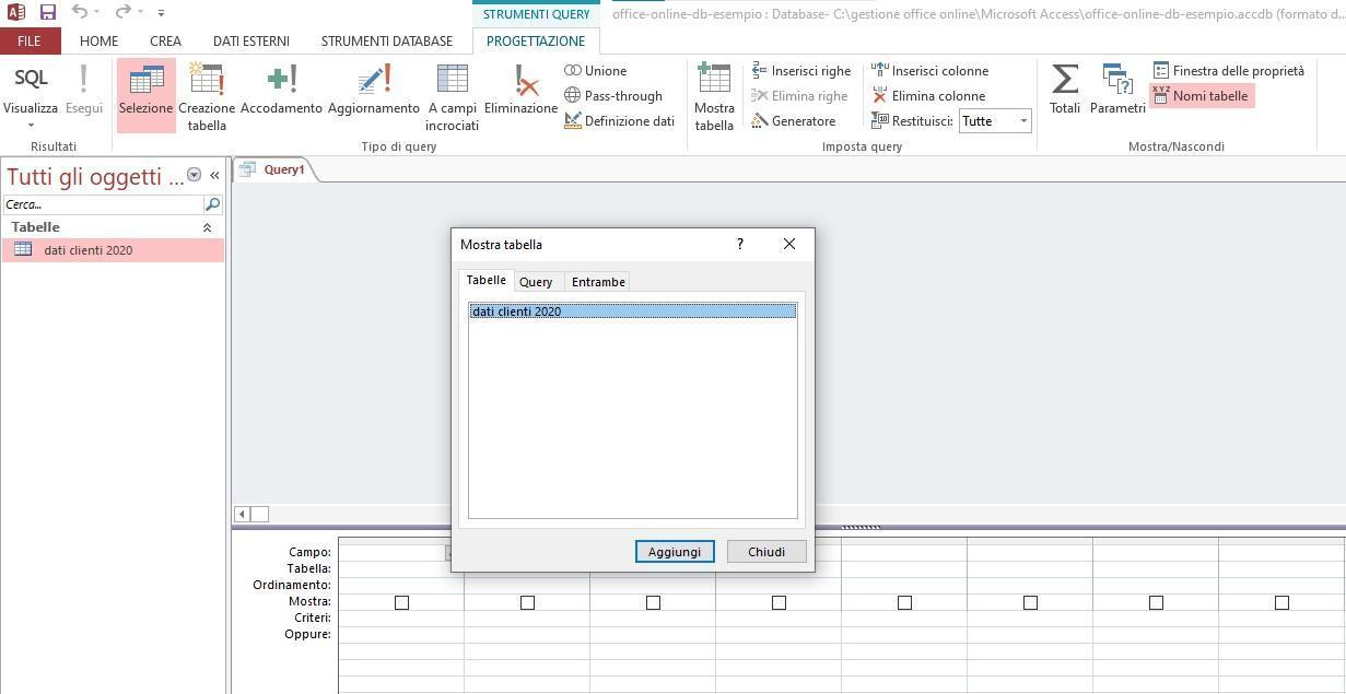 Office online - creazione di una query