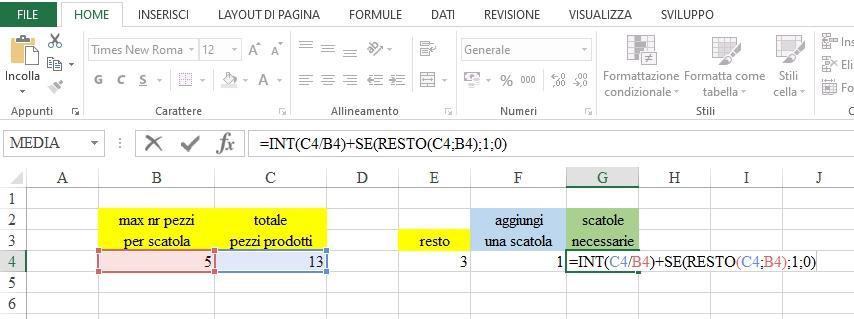 Office online - funzione resto in Excel