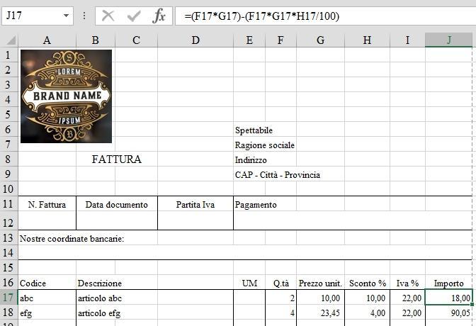 Office online: calcolo del totale riga in fattura