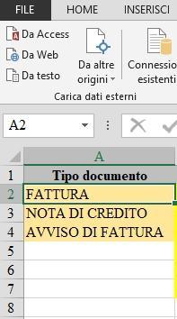 Office online: voci per tipo documento