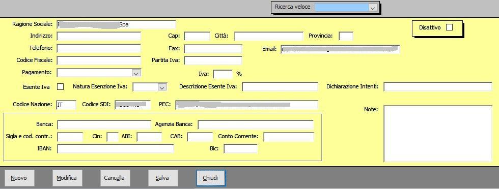 Office online: gestione azienda - anagrafica