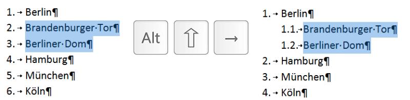 Mit dieser Tastenkombination können Sie Absätze mühelos tiefer stufen