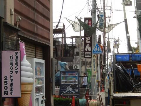 川越の菓子屋横丁で発生した火事。