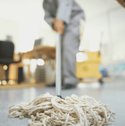 Janitor mopping the floor
