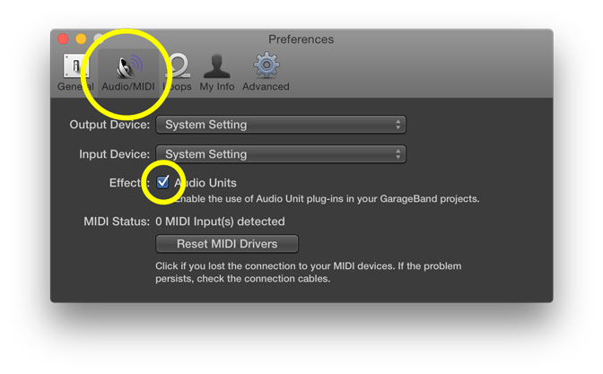 GarageBand Transpose - Select Audio Units