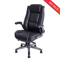 LCH High Back Leather Office Chair - Adjustable Angle Recline Locking System and Flip-Up Arms Executive Computer Desk Chair, Thick Padding For Comfort and Ergonomic Design For Lumbar Support