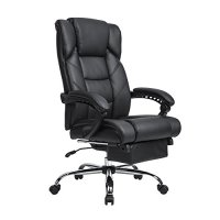 LCH High Back Leather Office Chair with Adjustable Lumbar Support Knob, Thick Padding For Comfort and Ergonomic Design For Lumbar Support (Black-1018)