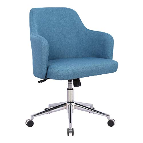Home Office Chair Upholstered Mid Back Support Swivel Computer Desk Task Chairs Adjustable Height With Armrests Navy Office Chairs