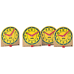 Mini Judy Clocks make learning to tell time simple and fun for children, teaching time to the hour, half-hour, quarter-hour, and minute. Easy-to-use clocks are perfect for learning centers or for small group instruction. Each clock features movable plastic hands mounted on a sturdy wooden base. Individual stands are included. Teach time to the hour, half-hour, quarter-hour and minute  Child-friendly and easy to use.  Perfect for learning centers or small group instruction.  Features moveable plastic hands mounted on a sturdy wooden base. Individual stands are included. Choking hazard for children under 3 years old.  A great companion to the original Judy clock.