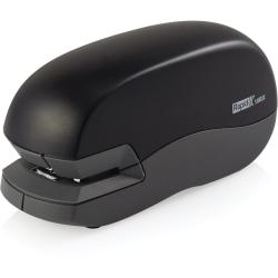 Electric stapler with a 10-sheet capacity features a lightweight, portable design to provide reliable stapling performance wherever you need. Easy-to-use, QuickLoad magazine tray ejects with just the push of a button for simple refills. Plus, its compact size takes up less desktop space. Electric stapler requires four AA batteries.
