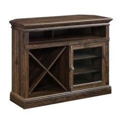 Revamp your living room's entertainment area with this stylish, cottage-style credenza. Behind the beautifully framed, tempered-glass doors, you'll find an adjustable shelf that accommodates game consoles and cable boxes. Store additional items on the other 5 shelves and utilize the back panel's cord management to keep the credenza neat and tidy.  Compatible with TVs up to 60