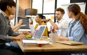 Millenials meeting in coworking space