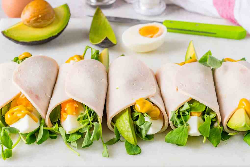 image of turkey roll ups as a healthy snack for work