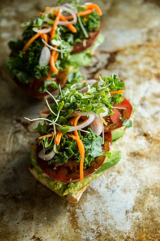 image of veggie toast as a healthy snack for work
