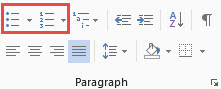 Word 2013 Paragraph group